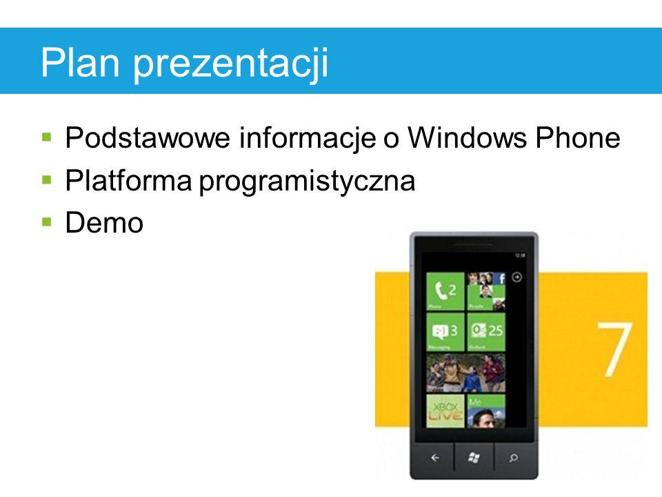 Plan prezentacji  Podstawowe informacje o Windows Phone  Platforma programistyczna  Demo