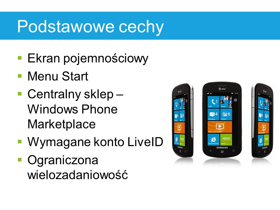 Podstawowe cechy  Ekran pojemnościowy  Menu Start  Centralny sklep – Windows Phone Marketplace  Wymagane konto LiveID  Ograniczona wielozadaniowo