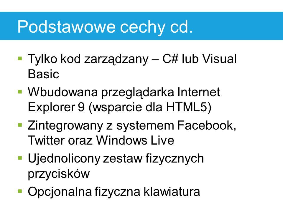 Podstawowe cechy cd.  Tylko kod zarządzany – C# lub Visual Basic  Wbudowana przeglądarka Internet Explorer 9 (wsparcie dla HTML5)  Zintegrowany z s