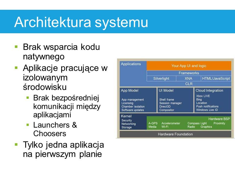 Architektura systemu  Brak wsparcia kodu natywnego  Aplikacje pracujące w izolowanym środowisku  Brak bezpośredniej komunikacji między aplikacjami  Launchers & Choosers  Tylko jedna aplikacja na pierwszym planie