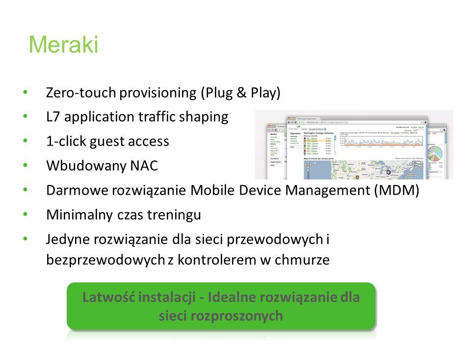 Meraki Zero-touch provisioning (Plug & Play) L7 application traffic shaping 1-click guest access Wbudowany NAC Darmowe rozwiązanie Mobile Device Manag