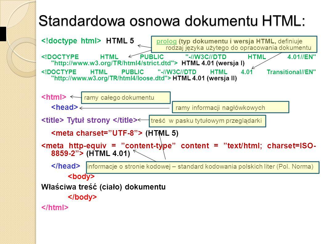 HTML – spis poleceń ATRYBUTY ZNACZNIKÓW dostarczają dodatkowych informacji o elemencie są zawsze określone w znaczniku otwierającym występują jako para nazwa – wartość : nazwa = wartość nazwy atrybutów i ich wartości należy pisać małymi literami.