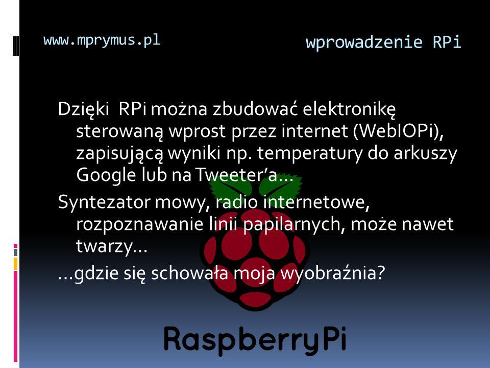 Dzięki RPi można zbudować elektronikę sterowaną wprost przez internet (WebIOPi), zapisującą wyniki np. temperatury do arkuszy Google lub na Tweeter'a…
