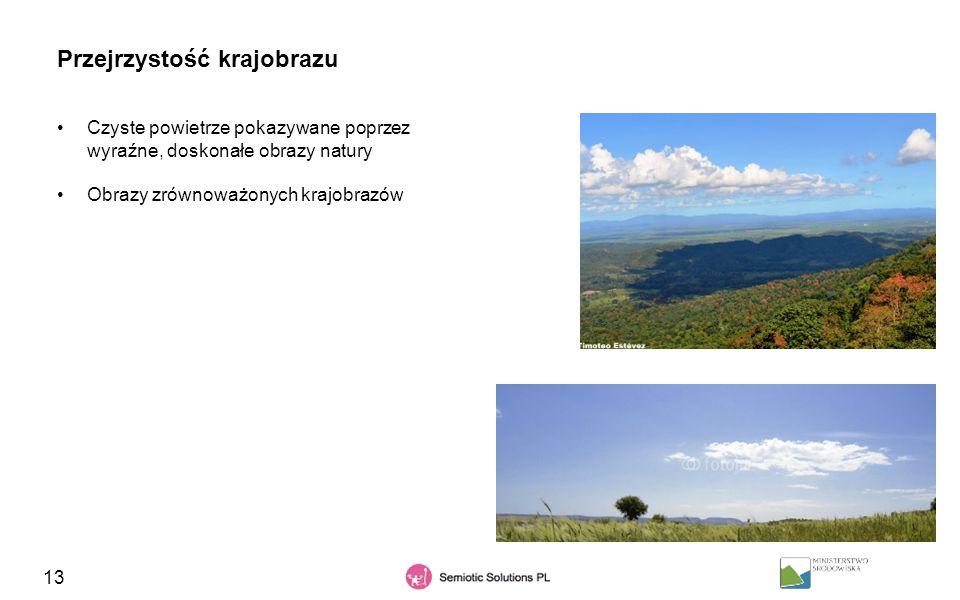 13 Przejrzystość krajobrazu Czyste powietrze pokazywane poprzez wyraźne, doskonałe obrazy natury Obrazy zrównoważonych krajobrazów