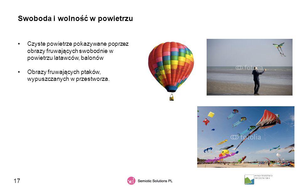 17 Swoboda i wolność w powietrzu Czyste powietrze pokazywane poprzez obrazy fruwających swobodnie w powietrzu latawców, balonów Obrazy fruwających pta