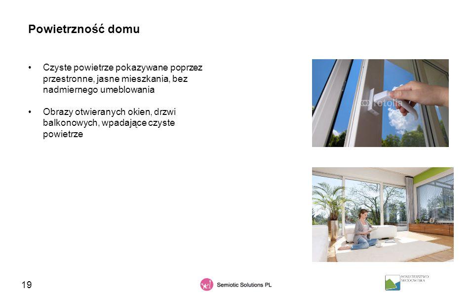 19 Powietrzność domu Czyste powietrze pokazywane poprzez przestronne, jasne mieszkania, bez nadmiernego umeblowania Obrazy otwieranych okien, drzwi ba