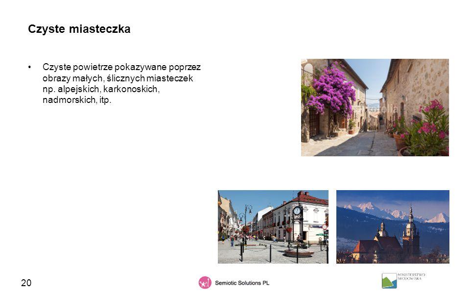 20 Czyste miasteczka Czyste powietrze pokazywane poprzez obrazy małych, ślicznych miasteczek np. alpejskich, karkonoskich, nadmorskich, itp.