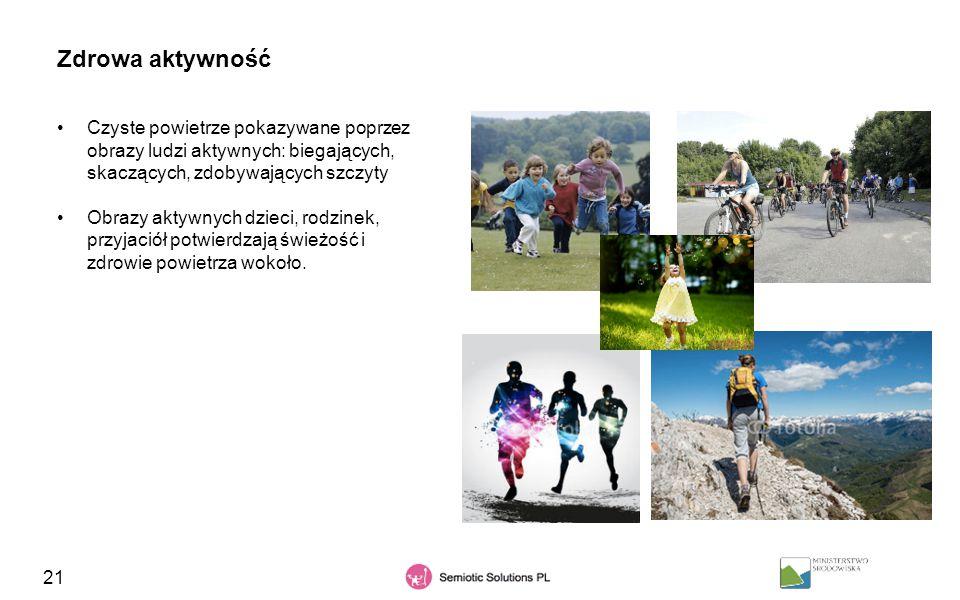 21 Zdrowa aktywność Czyste powietrze pokazywane poprzez obrazy ludzi aktywnych: biegających, skaczących, zdobywających szczyty Obrazy aktywnych dzieci