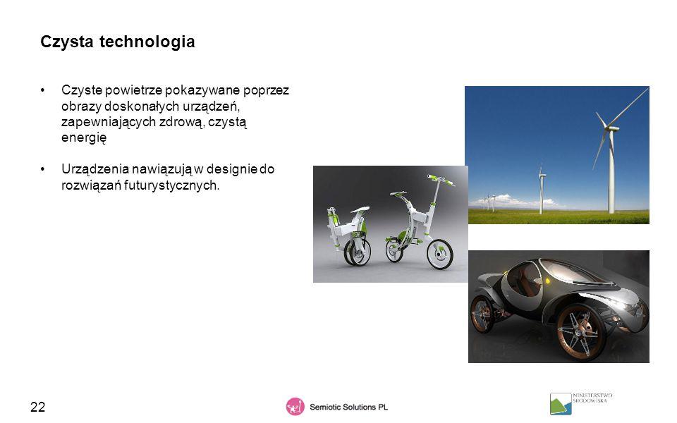 22 Czysta technologia Czyste powietrze pokazywane poprzez obrazy doskonałych urządzeń, zapewniających zdrową, czystą energię Urządzenia nawiązują w de