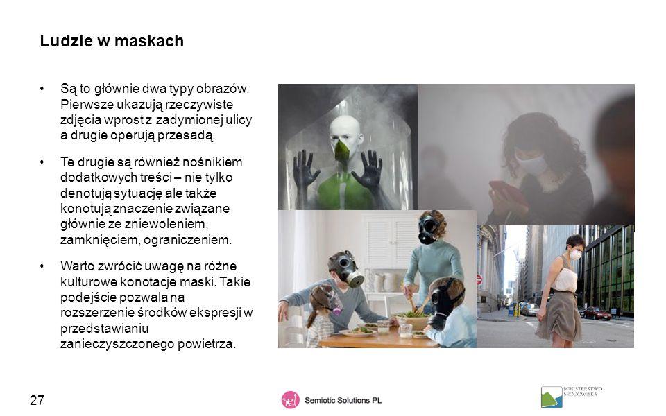27 Ludzie w maskach Są to głównie dwa typy obrazów. Pierwsze ukazują rzeczywiste zdjęcia wprost z zadymionej ulicy a drugie operują przesadą. Te drugi