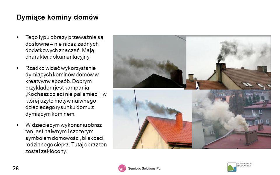 28 Dymiące kominy domów Tego typu obrazy przeważnie są dosłowne – nie niosą żadnych dodatkowych znaczeń. Mają charakter dokumentacyjny. Rzadko widać w