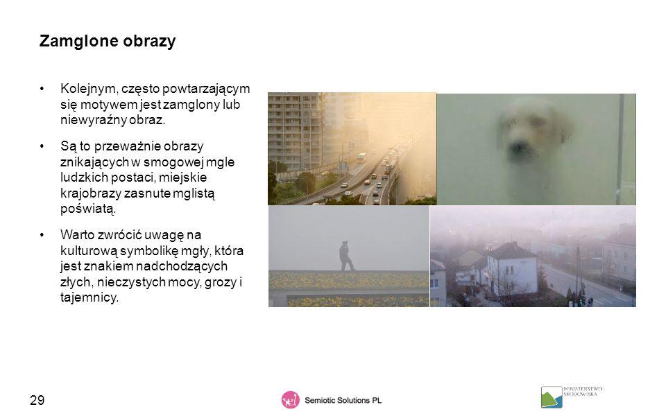 29 Zamglone obrazy Kolejnym, często powtarzającym się motywem jest zamglony lub niewyraźny obraz. Są to przeważnie obrazy znikających w smogowej mgle