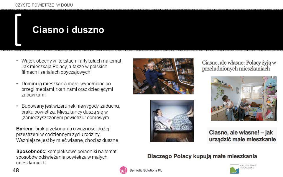 48 Ciasno i duszno Wątek obecny w tekstach i artykułach na temat Jak mieszkają Polacy, a także w polskich filmach i serialach obyczajowych Dominują mi
