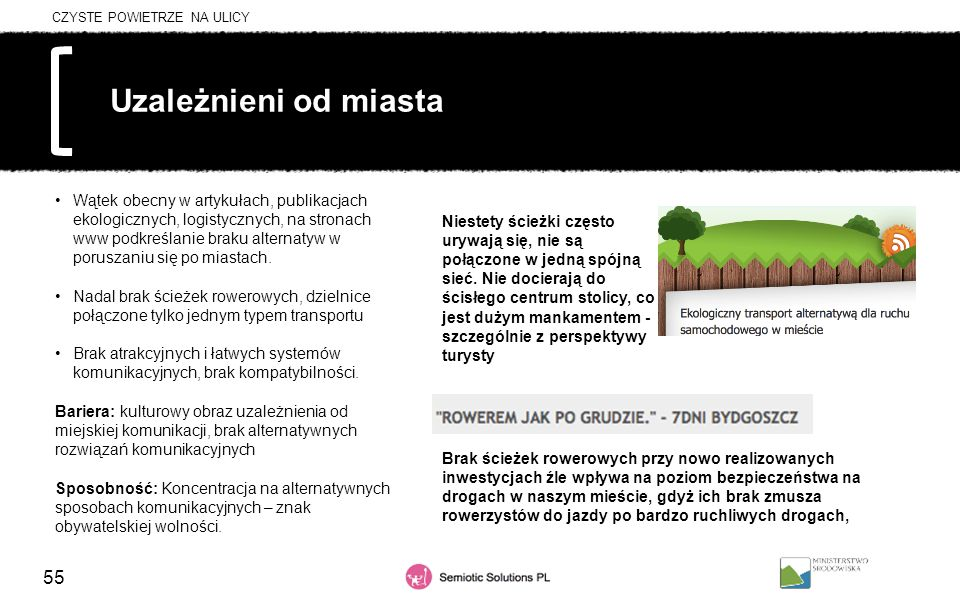 55 Uzależnieni od miasta Wątek obecny w artykułach, publikacjach ekologicznych, logistycznych, na stronach www podkreślanie braku alternatyw w porusza