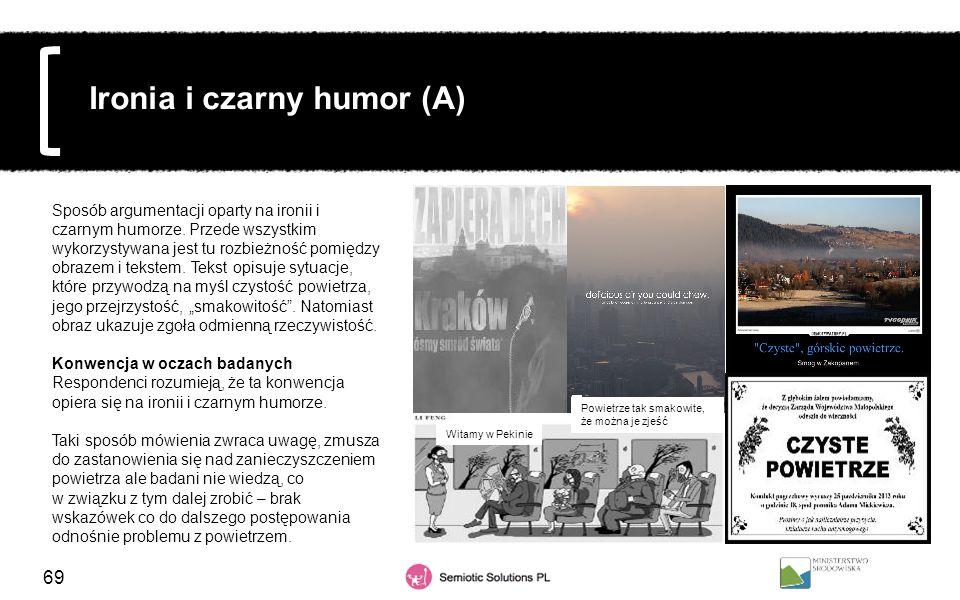 69 Ironia i czarny humor (A) Sposób argumentacji oparty na ironii i czarnym humorze. Przede wszystkim wykorzystywana jest tu rozbieżność pomiędzy obra