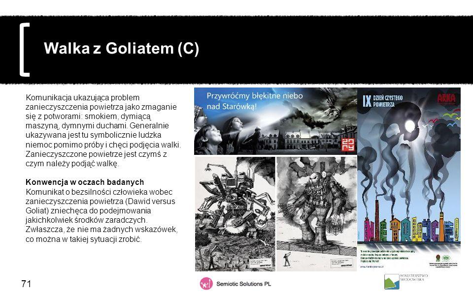 71 Walka z Goliatem (C) Komunikacja ukazująca problem zanieczyszczenia powietrza jako zmaganie się z potworami: smokiem, dymiącą maszyną, dymnymi duch