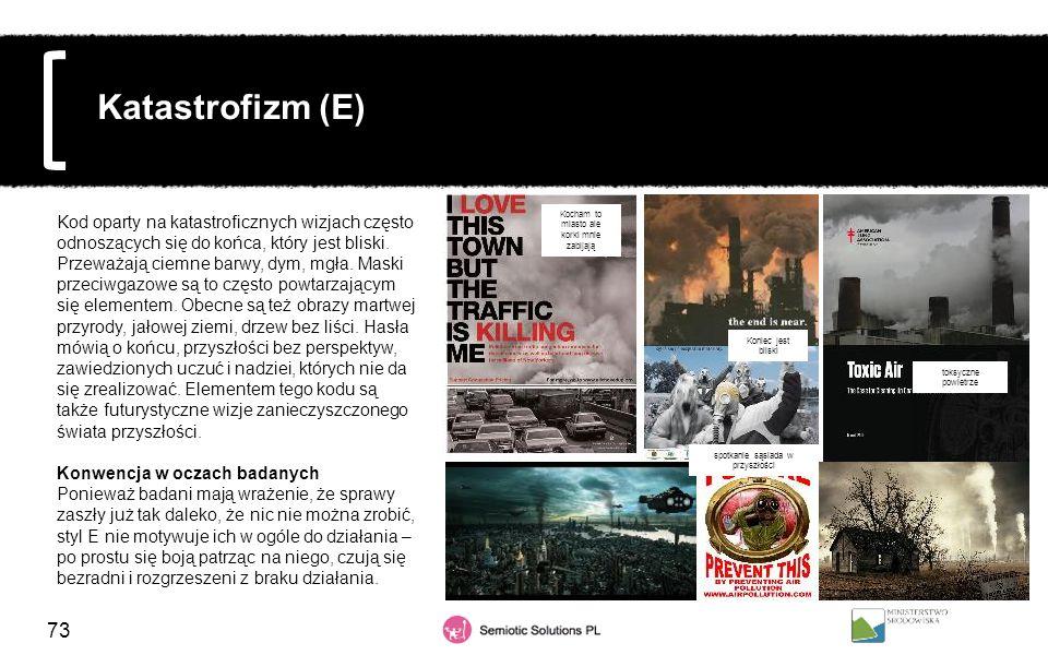 73 Katastrofizm (E) Kod oparty na katastroficznych wizjach często odnoszących się do końca, który jest bliski. Przeważają ciemne barwy, dym, mgła. Mas