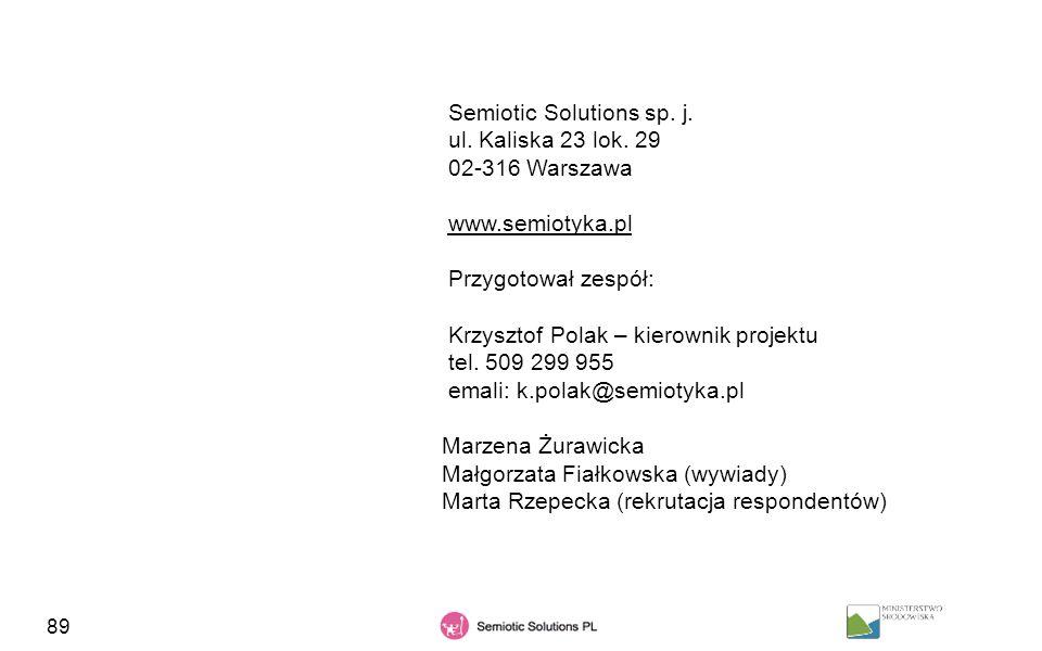 89 Semiotic Solutions sp. j. ul. Kaliska 23 lok. 29 02-316 Warszawa www.semiotyka.pl Przygotował zespół: Krzysztof Polak – kierownik projektu tel. 509