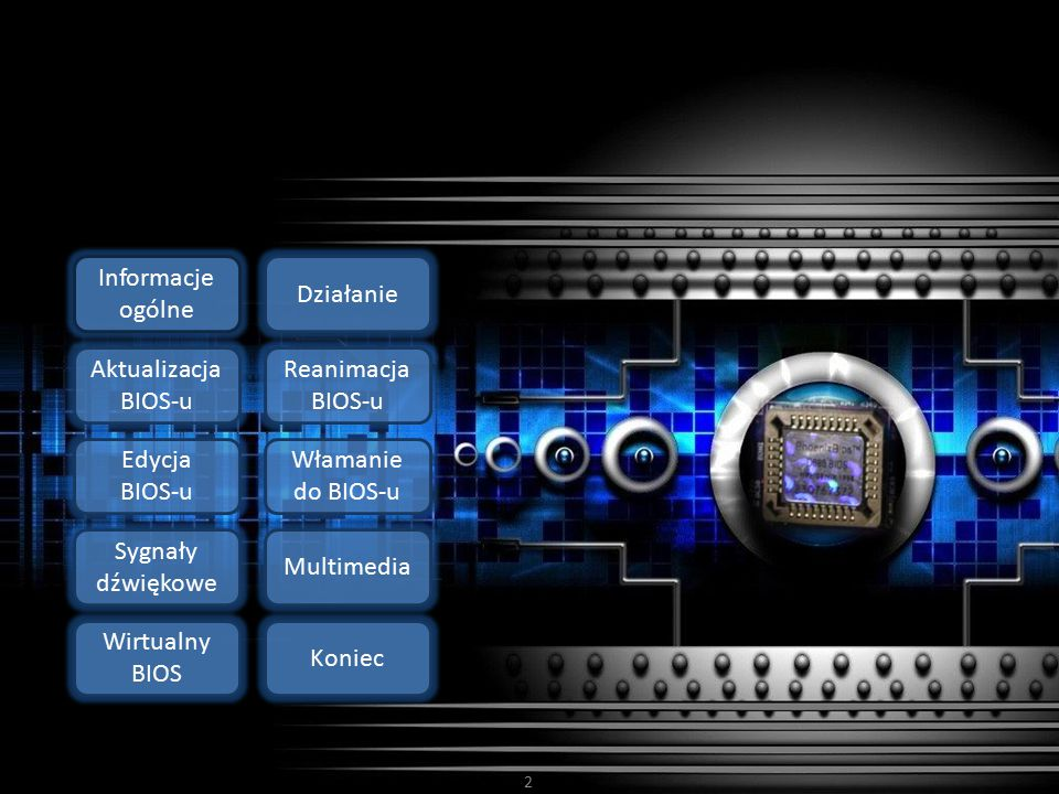 2 Działanie Informacje ogólne Aktualizacja BIOS-u Reanimacja BIOS-u Edycja BIOS-u Włamanie do BIOS-u Sygnały dźwiękowe Wirtualny BIOS Multimedia Konie
