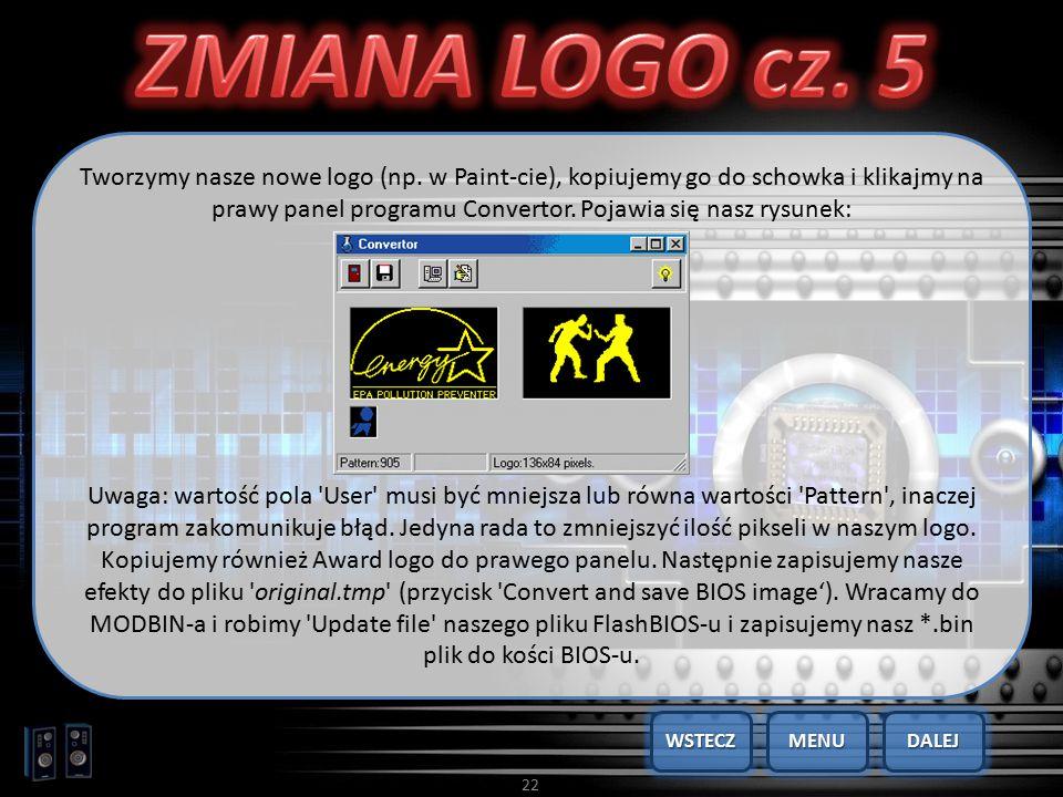 22 Tworzymy nasze nowe logo (np. w Paint-cie), kopiujemy go do schowka i klikajmy na prawy panel programu Convertor. Pojawia się nasz rysunek: Uwaga: