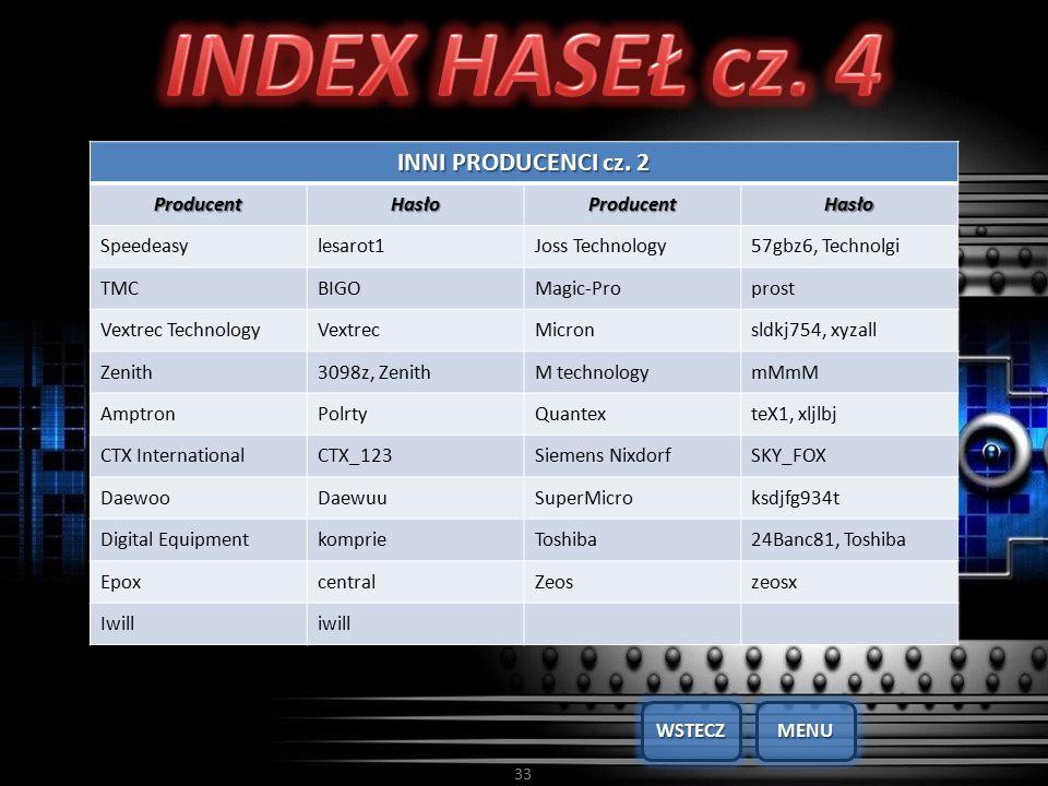 33 INNI PRODUCENCI cz. 2 ProducentHasłoProducentHasło Speedeasylesarot1Joss Technology57gbz6, Technolgi TMCBIGOMagic-Proprost Vextrec TechnologyVextre