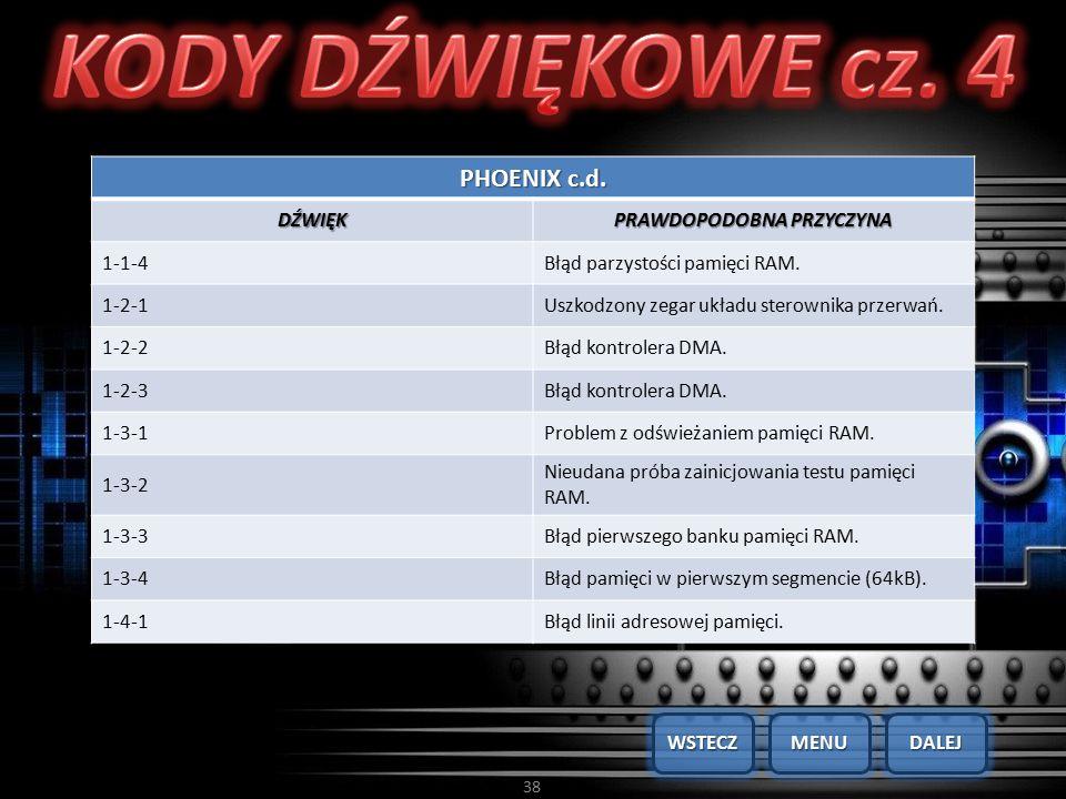 38 PHOENIX c.d. DŹWIĘK PRAWDOPODOBNA PRZYCZYNA 1-1-4Błąd parzystości pamięci RAM. 1-2-1Uszkodzony zegar układu sterownika przerwań. 1-2-2Błąd kontrole