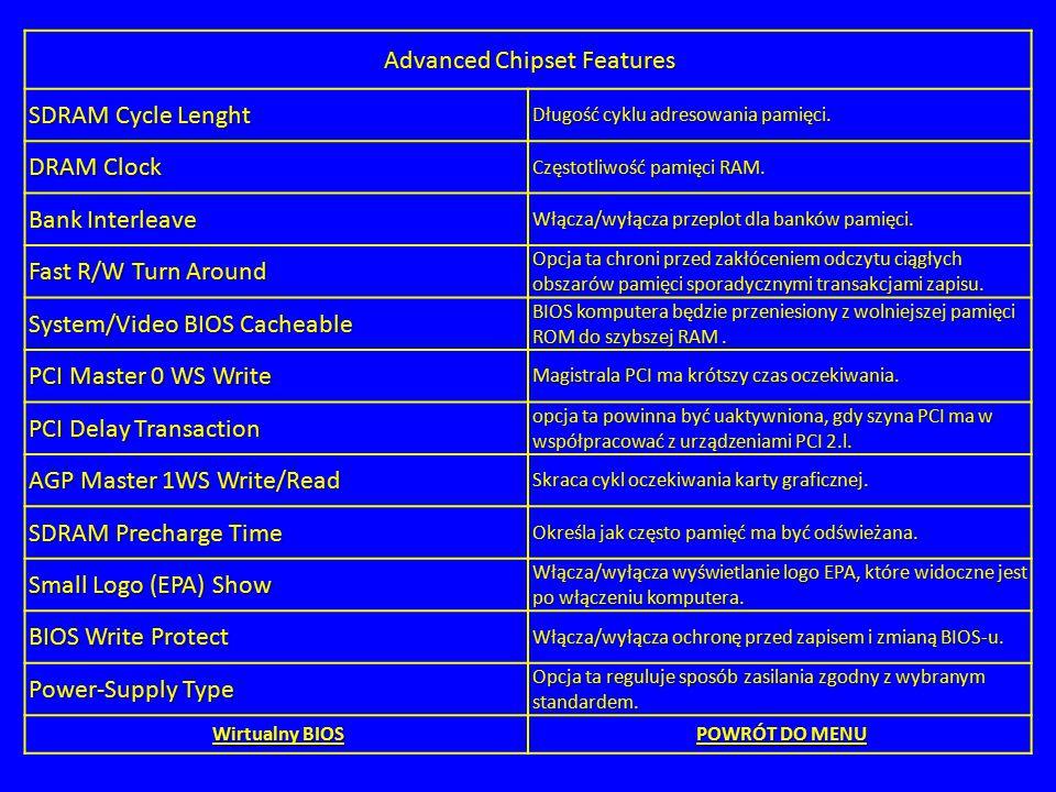 Advanced Chipset Features SDRAM Cycle Lenght Długość cyklu adresowania pamięci. DRAM Clock Częstotliwość pamięci RAM. Bank Interleave Włącza/wyłącza p