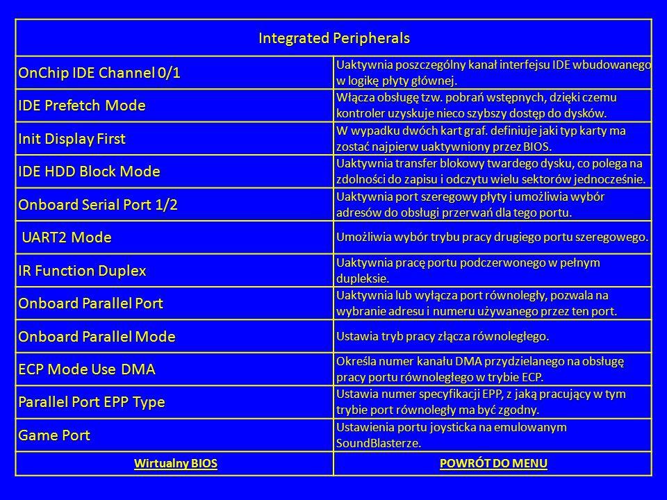 Integrated Peripherals OnChip IDE Channel 0/1 Uaktywnia poszczególny kanał interfejsu IDE wbudowanego w logikę płyty głównej. IDE Prefetch Mode Włącza
