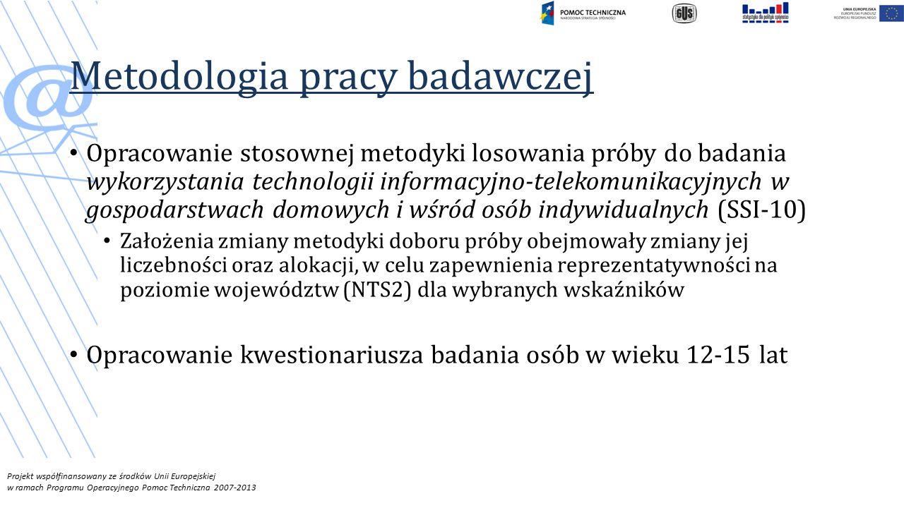 Projekt współfinansowany ze środków Unii Europejskiej w ramach Programu Operacyjnego Pomoc Techniczna 2007-2013 Metodologia pracy badawczej Opracowanie stosownej metodyki losowania próby do badania wykorzystania technologii informacyjno-telekomunikacyjnych w gospodarstwach domowych i wśród osób indywidualnych (SSI-10) Założenia zmiany metodyki doboru próby obejmowały zmiany jej liczebności oraz alokacji, w celu zapewnienia reprezentatywności na poziomie województw (NTS2) dla wybranych wskaźników Opracowanie kwestionariusza badania osób w wieku 12-15 lat
