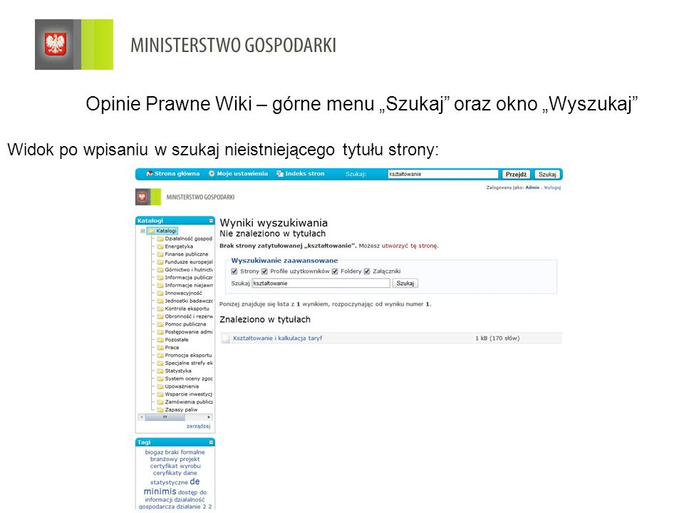 """Widok po wpisaniu w szukaj nieistniejącego tytułu strony: Opinie Prawne Wiki – górne menu """"Szukaj oraz okno """"Wyszukaj"""