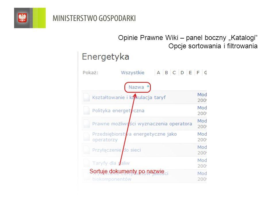 """Opinie Prawne Wiki – panel boczny """"Katalogi Opcje sortowania i filtrowania"""