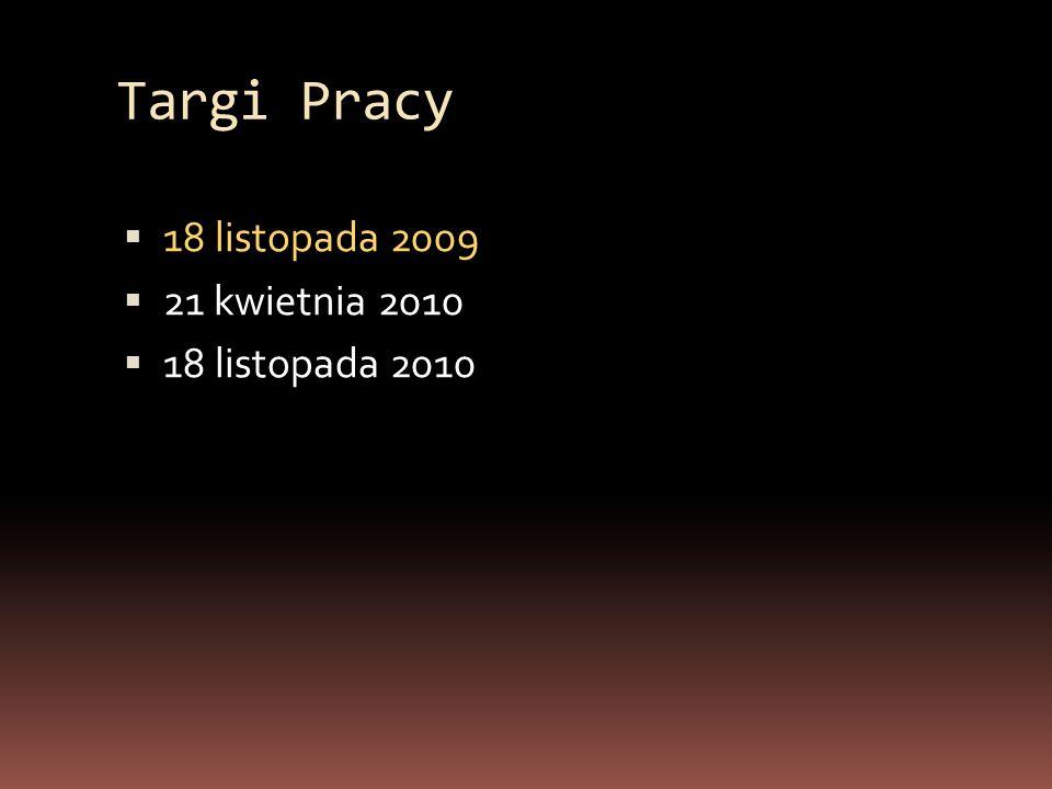 Targi Pracy  18 listopada 2009  21 kwietnia 2010  18 listopada 2010