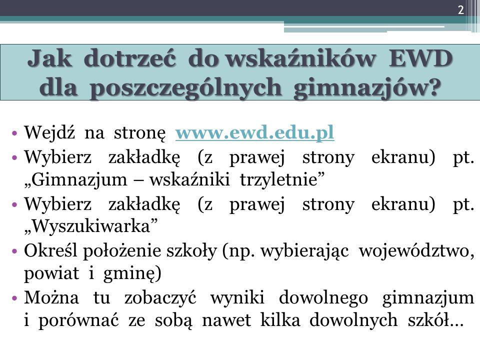 www.ewd.edu.pl - trzyletnie wskaźniki egzaminacyjne dla gimnazjów EWD trzyletnie: - część humanistyczna, - część matematyczno-przyrodnicza.