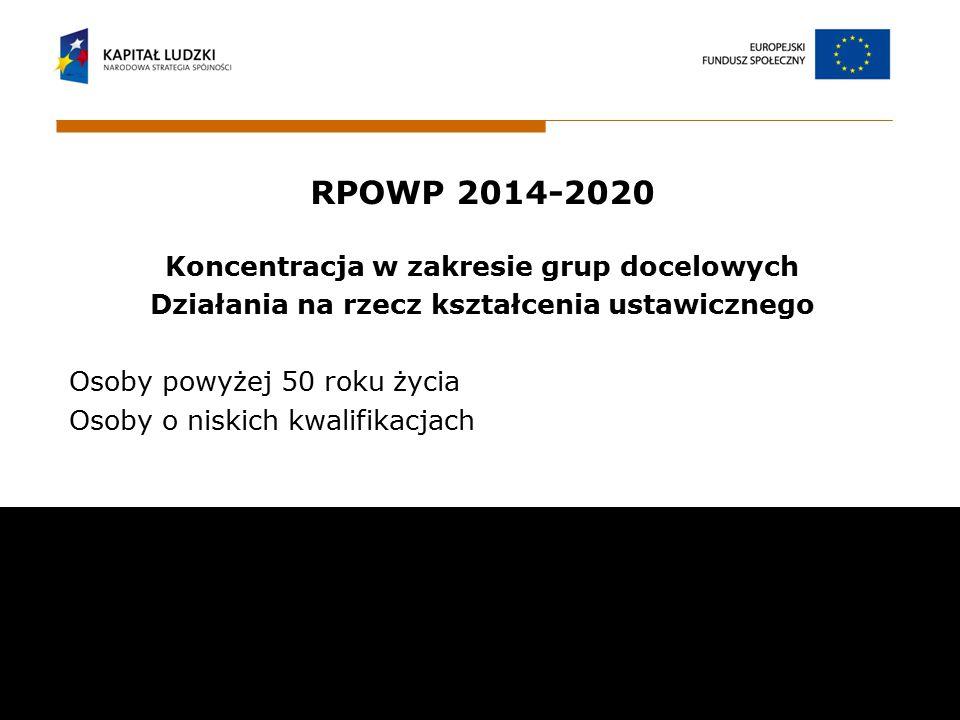 RPOWP 2014-2020 Koncentracja w zakresie grup docelowych Działania na rzecz kształcenia ustawicznego Osoby powyżej 50 roku życia Osoby o niskich kwalif