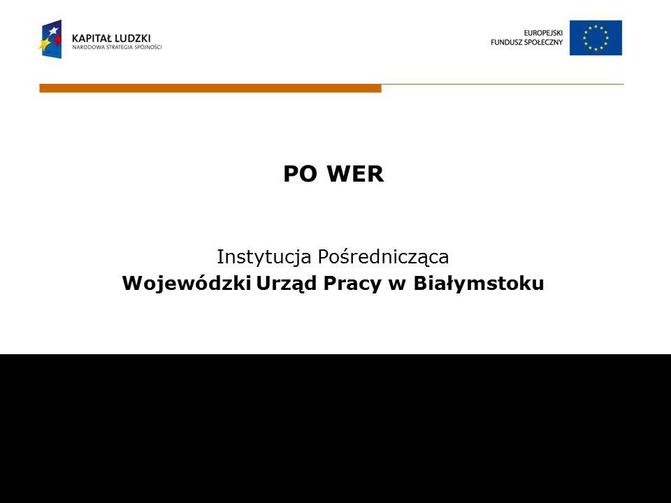 PO WER Instytucja Pośrednicząca Wojewódzki Urząd Pracy w Białymstoku Wojewódzki Urząd Pracy w Białymstoku ul. Pogodna 22 15 -354 Białystok email: sekr