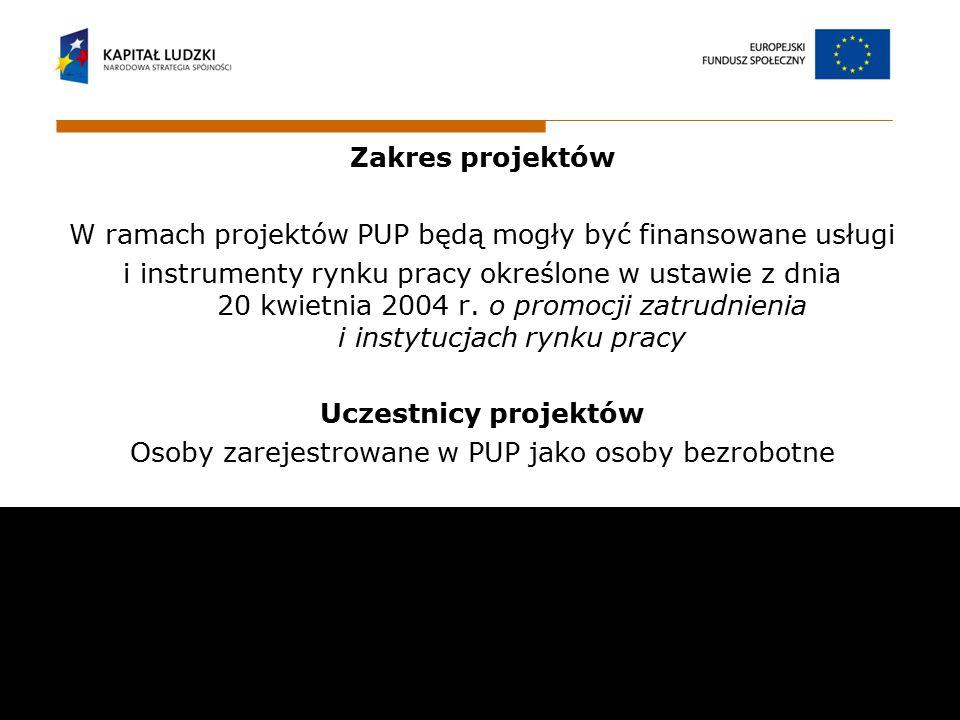 Zakres projektów W ramach projektów PUP będą mogły być finansowane usługi i instrumenty rynku pracy określone w ustawie z dnia 20 kwietnia 2004 r. o p