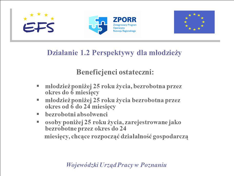 Wojewódzki Urząd Pracy w Poznaniu Działanie 1.2 Perspektywy dla młodzieży Beneficjenci ostateczni:  młodzież poniżej 25 roku życia, bezrobotna przez okres do 6 miesięcy  młodzież poniżej 25 roku życia bezrobotna przez okres od 6 do 24 miesięcy  bezrobotni absolwenci  osoby poniżej 25 roku życia, zarejestrowane jako bezrobotne przez okres do 24 miesięcy, chcące rozpocząć działalność gospodarczą