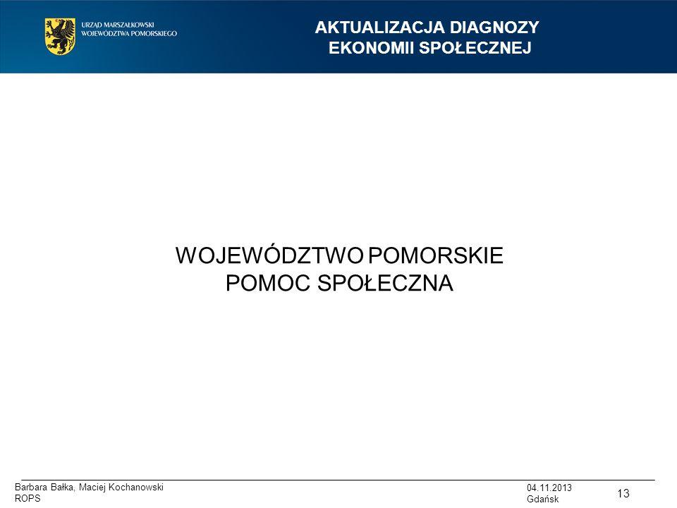 AKTUALIZACJA DIAGNOZY EKONOMII SPOŁECZNEJ WOJEWÓDZTWO POMORSKIE POMOC SPOŁECZNA 13 04.11.2013 Gdańsk Barbara Bałka, Maciej Kochanowski ROPS