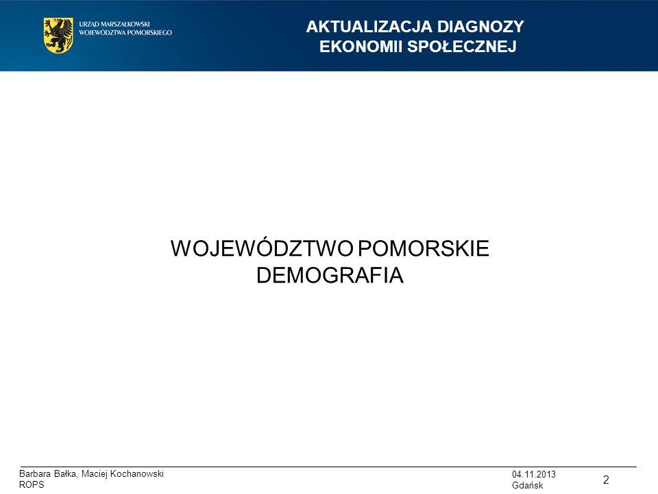 Barbara Bałka, Maciej Kochanowski ROPS AKTUALIZACJA DIAGNOZY EKONOMII SPOŁECZNEJ WOJEWÓDZTWO POMORSKIE DEMOGRAFIA 2 04.11.2013 Gdańsk