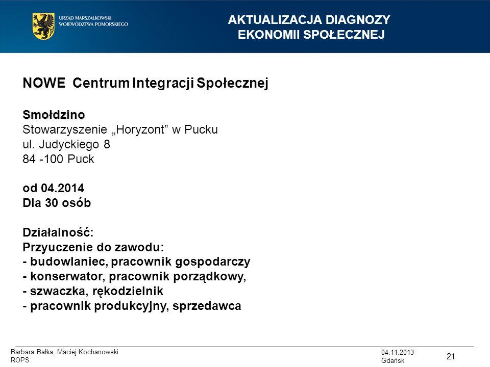 """AKTUALIZACJA DIAGNOZY EKONOMII SPOŁECZNEJ 04.11.2013 Gdańsk NOWE Centrum Integracji SpołecznejSmołdzino Stowarzyszenie """"Horyzont"""" w Pucku ul. Judyckie"""