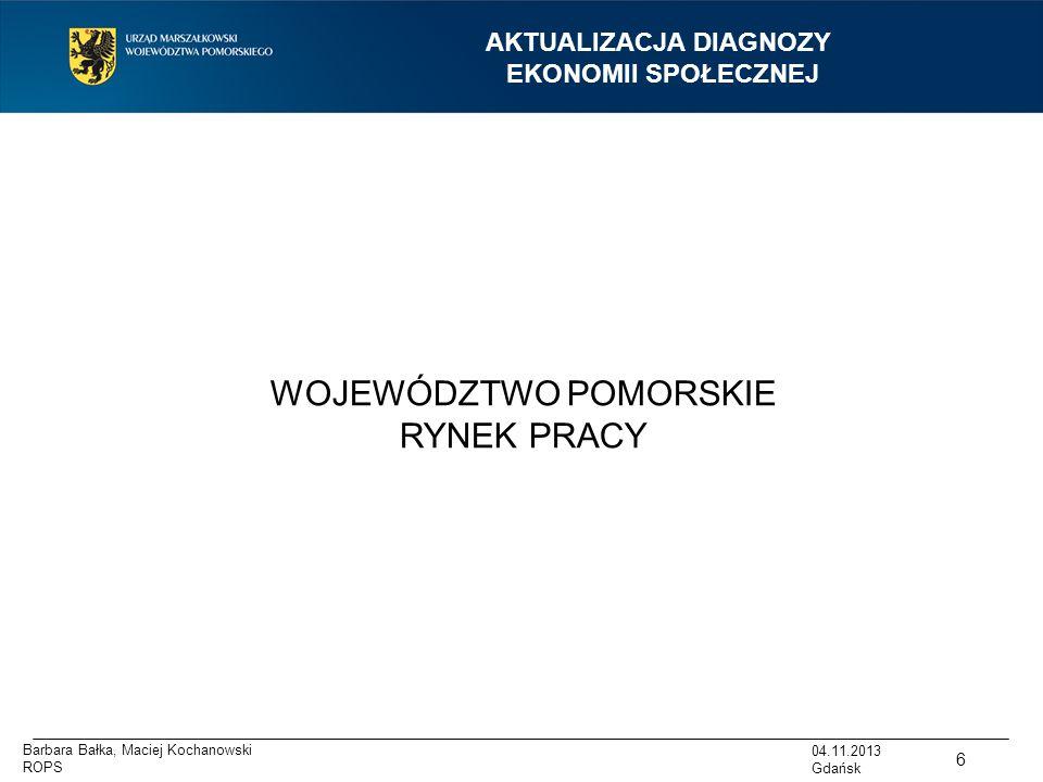 AKTUALIZACJA DIAGNOZY EKONOMII SPOŁECZNEJ WOJEWÓDZTWO POMORSKIE RYNEK PRACY 6 04.11.2013 Gdańsk Barbara Bałka, Maciej Kochanowski ROPS