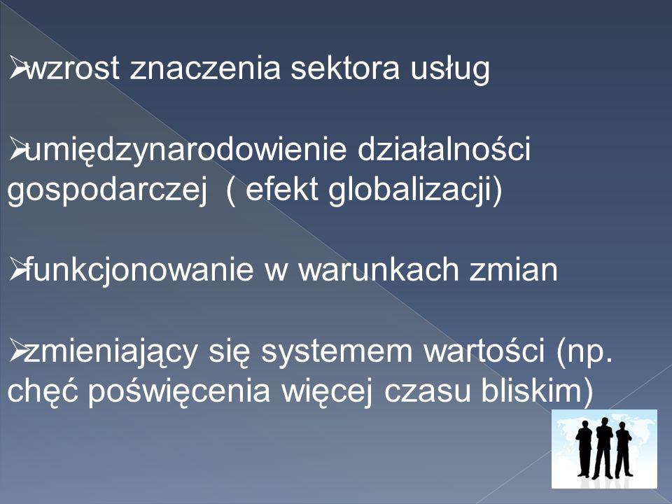  wzrost znaczenia sektora usług  umiędzynarodowienie działalności gospodarczej ( efekt globalizacji)  funkcjonowanie w warunkach zmian  zmieniając