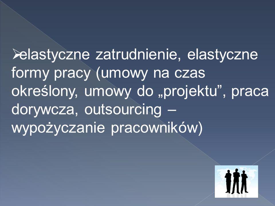 """ elastyczne zatrudnienie, elastyczne formy pracy (umowy na czas określony, umowy do """"projektu"""", praca dorywcza, outsourcing – wypożyczanie pracownikó"""