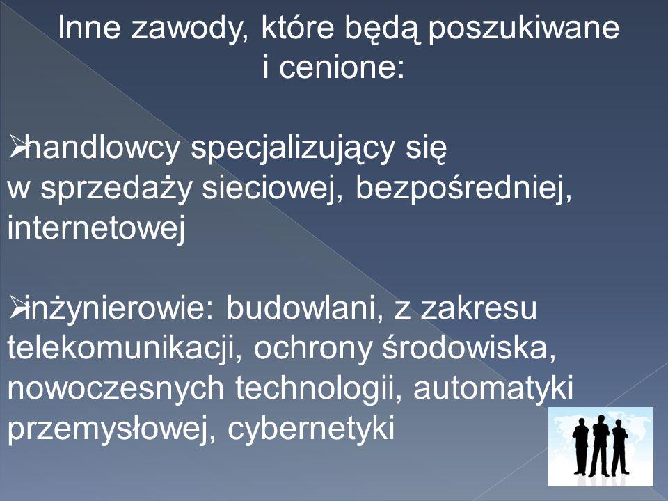 Inne zawody, które będą poszukiwane i cenione:  handlowcy specjalizujący się w sprzedaży sieciowej, bezpośredniej, internetowej  inżynierowie: budow