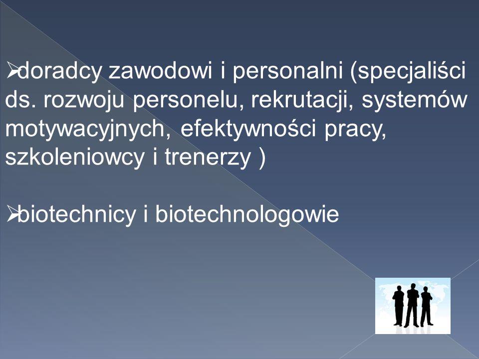  doradcy zawodowi i personalni (specjaliści ds. rozwoju personelu, rekrutacji, systemów motywacyjnych, efektywności pracy, szkoleniowcy i trenerzy )