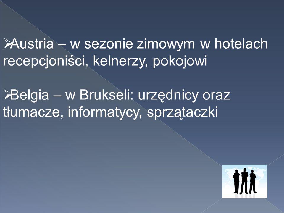 Austria – w sezonie zimowym w hotelach recepcjoniści, kelnerzy, pokojowi  Belgia – w Brukseli: urzędnicy oraz tłumacze, informatycy, sprzątaczki