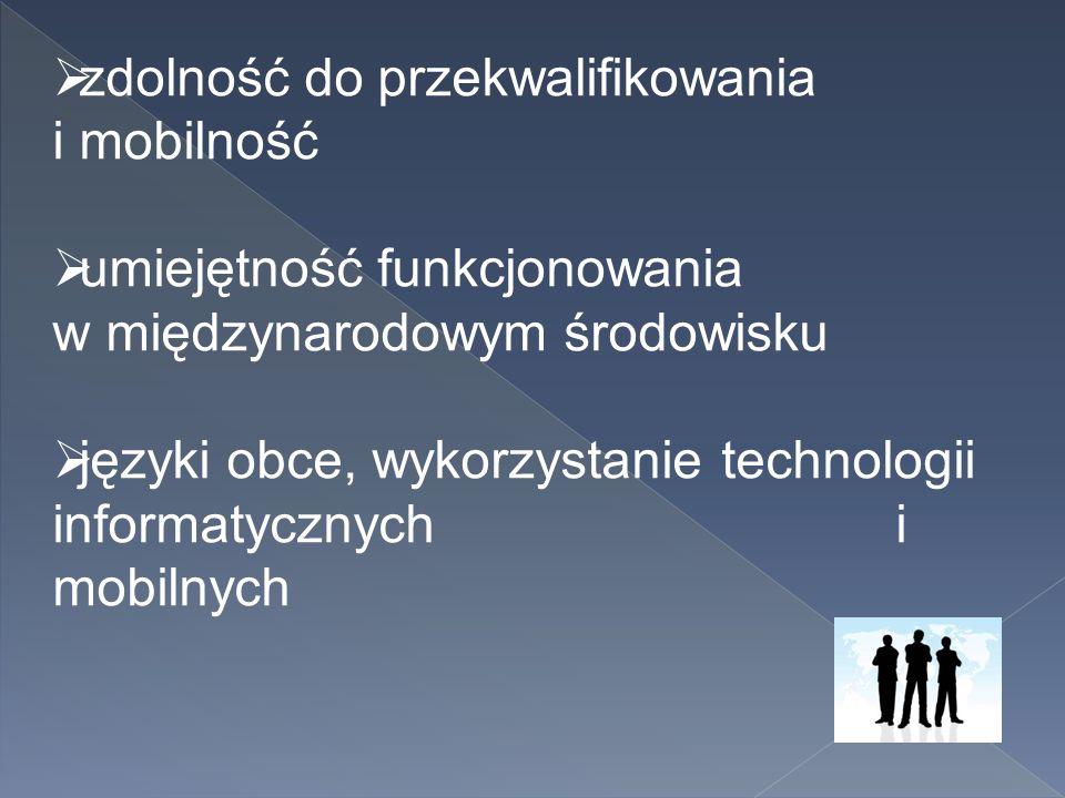  zdolność do przekwalifikowania i mobilność  umiejętność funkcjonowania w międzynarodowym środowisku  języki obce, wykorzystanie technologii inform