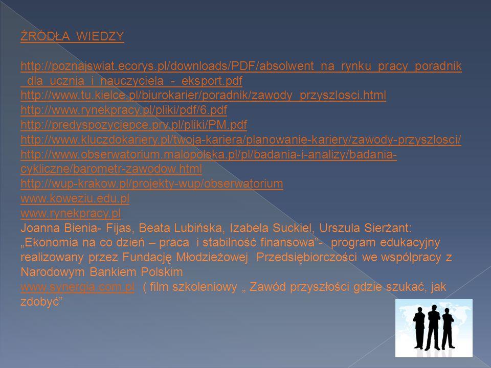 ŹRÓDŁA WIEDZY http://poznajswiat.ecorys.pl/downloads/PDF/absolwent_na_rynku_pracy_poradnik _dla_ucznia_i_nauczyciela_-_eksport.pdf http://www.tu.kielc