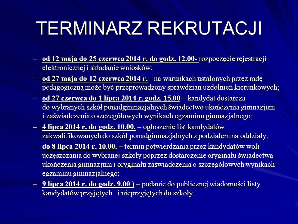 TERMINARZ REKRUTACJI –od 12 maja do 25 czerwca 2014 r. do godz. 12.00- rozpoczęcie rejestracji elektronicznej i składanie wniosków; –od 27 maja do 12