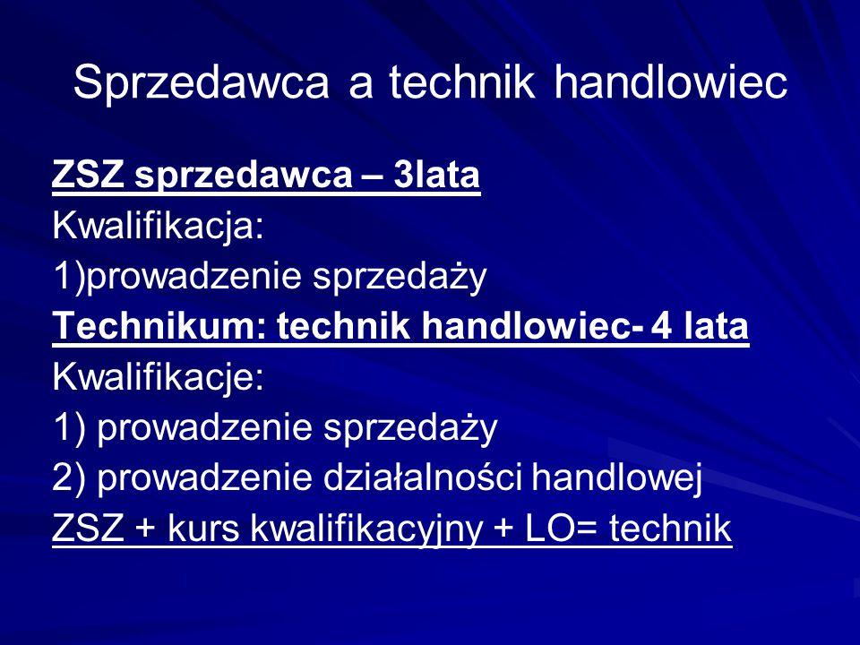 Sprzedawca a technik handlowiec ZSZ sprzedawca – 3lata Kwalifikacja: 1)prowadzenie sprzedaży Technikum: technik handlowiec- 4 lata Kwalifikacje: 1) pr